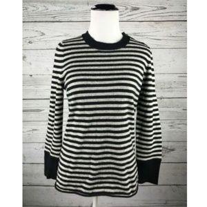 J.CREW Black Gray Dream Striped Classic Sweater